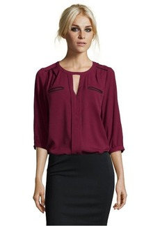 French Connection burgundy and black crepe 'Winter Diamond' blouse