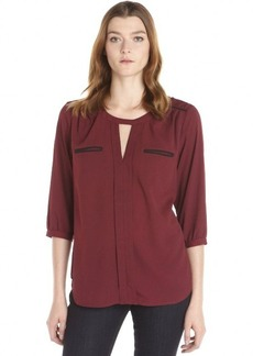 French Connection burgundy and black woven 'Winter Diamond' solid tipped blouse