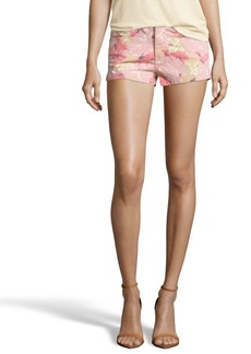 French Connection camel, beige and pink 'Jungle' denim shorts