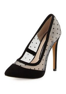 French Connection Camleigh Suede Polka-Dot Pump, Black