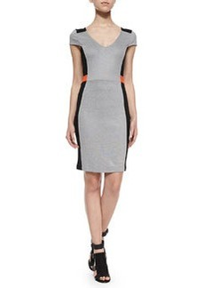 French Connection Cap-Sleeve Fitted Colorblocked Dress
