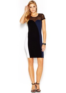 French Connection Cap-Sleeve Illusion-Neck Colorblocked Dress