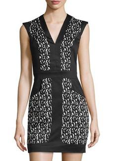 French Connection Cap-Sleeve V-Neck Poplin Dress w/Brush Stroke Print