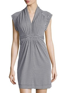 French Connection Chevron Tie-Waist V-Neck Dress