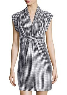 French Connection Chevron Tie-Waist V-Neck Dress, Black/White
