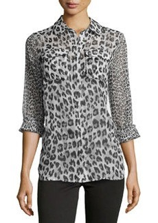 French Connection Chiffon Animal-Print Blouse, Morning Dew Combo
