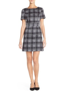 French Connection 'Clarence' Check Stretch Cotton A-Line Dress