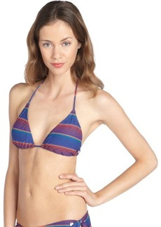 French Connection cobalt multi-color stretch 'Sunny' striped pattern halter triangle bikini top