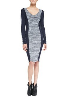French Connection Colorblock Space-Dyed Sheath Dress, Navy