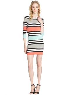 French Connection coral, black and mint stretch 'Jag Stripe' dress