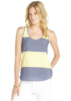 French Connection cornflower blue and yellow stretch stripe pattern printed sleeveless tank