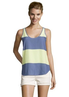 French Connection cornflower blue and yellow woven striped sleeveless tank