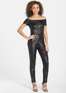 French Connection 'Cosmic Sparkle' Sequin Off Shoulder Jumpsuit