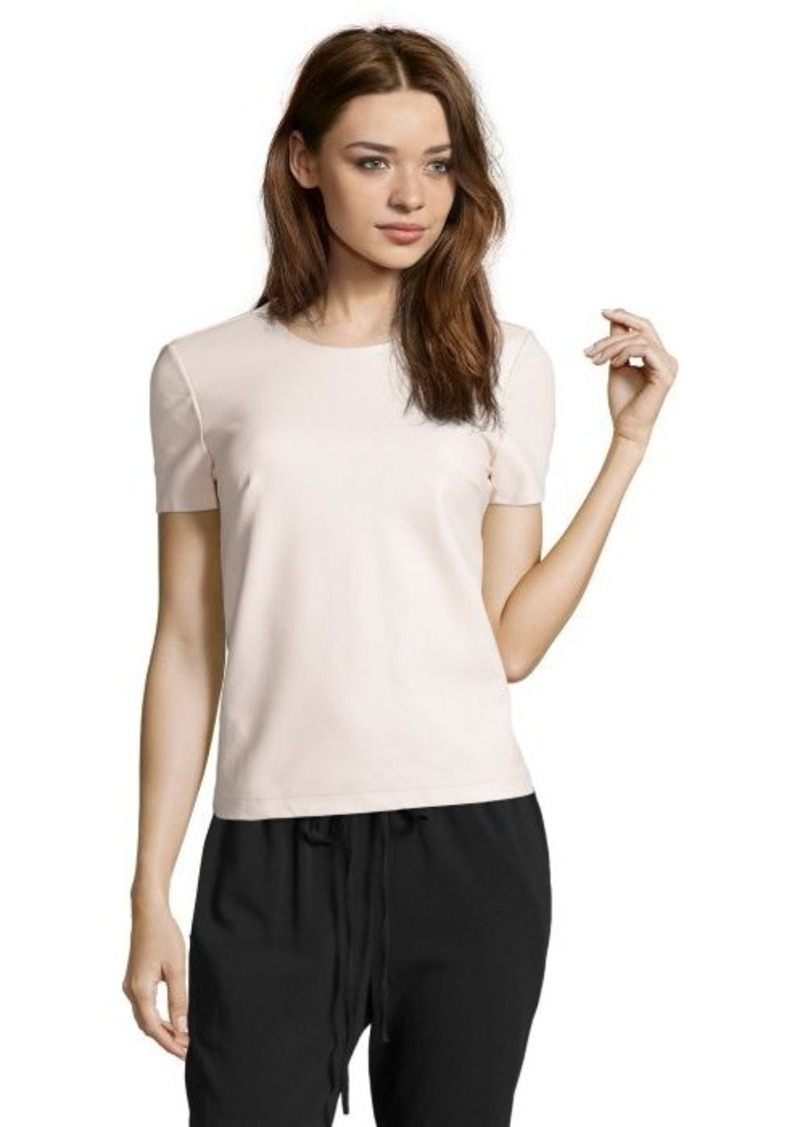 French Connection cream 'Athena' short sleeve faux leather top