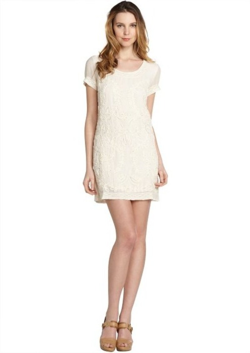 French Connection cream beaded stretch crepe 'Nanette' short sleeve dress