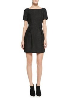 French Connection Croc-Embossed Pleated Dress, Black