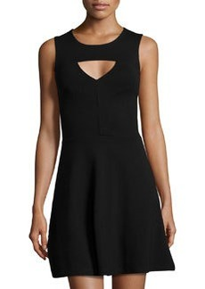 French Connection Cutout Fit-and-Flare Dress, Black