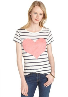 French Connection daisy white and navy stripe heart struck t-shirt
