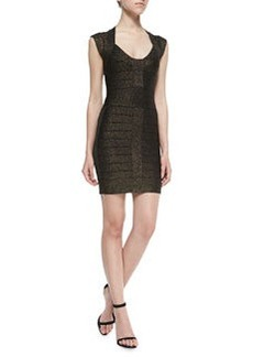 French Connection Dani Metallic Knit Bandage Dress