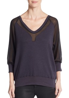 French Connection Ditton Chiffon-Inset Pullover