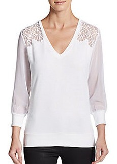 French Connection Ditton Lace-Paneled Sweater