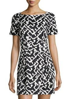 French Connection Downtown Grid-Print Ponte Dress