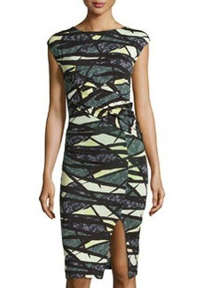 French Connection Draped Graphic-Print Dress, Black/Multi