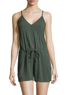 French Connection Drawstring V-Neck Romper, Everglade