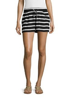 French Connection Drawstring-Waist Stripe Shorts, Black/White
