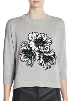 French Connection Eddie Pop Beaded Floral Sweater