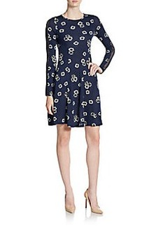 French Connection Eddy Floral-Print Mesh-Inset Dress