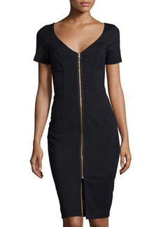 French Connection Edie Short-Sleeve V-Neck Zip-Front Sheath Dress
