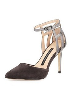 French Connection Electra Suede Ankle-Wrap Pump, Aluminum/Pewter