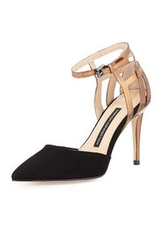 French Connection Electra Suede Ankle-Wrap Pump, Black/Copper