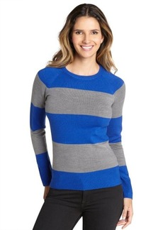 French Connection electric blue and grey striped crewneck sweater