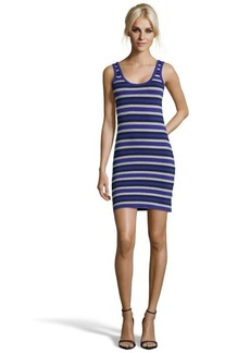 French Connection electric purple, navy and grey 'Space Hopper' stripe dress