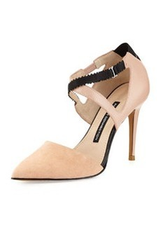 French Connection Elma Suede Pointed-Toe Pump, New Blush/Black
