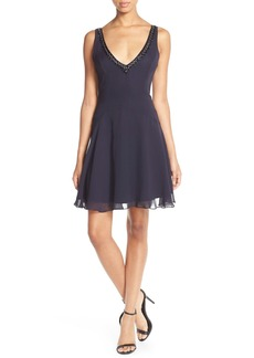 French Connection Embellished Chiffon Fit & Flare Dress