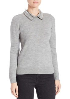 FRENCH CONNECTION Embellished Collared Wool Sweater