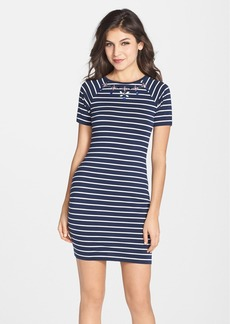 French Connection Embellished Stripe Body-Con Dress