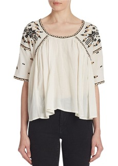 FRENCH CONNECTION Embroidered Peasant Top
