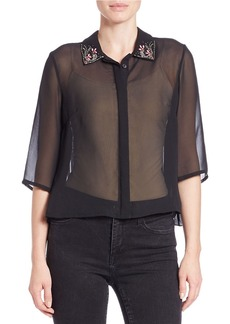 FRENCH CONNECTION Embroidered Sheer Blouse
