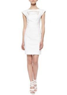 French Connection Estelle Cap-Sleeve Crepe Dress, White