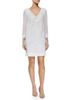 French Connection Evisaa Beaded Chiffon Shift Dress, Summer White