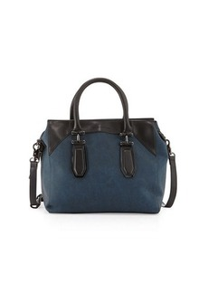 French Connection Farrah Colorblock Lizard-Embossed Satchel Bag