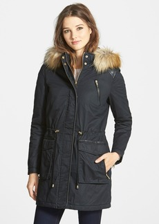 French Connection Faux Fur & Leather Trim Anorak Parka (Online Only)