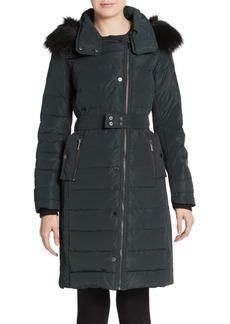French Connection Faux Fur-Trimmed Asymmetrical Zip Coat