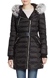French Connection Faux Fur-Trimmed Asymmetrical Zip Puffer Coat