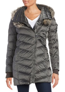 FRENCH CONNECTION Faux Fur-Trimmed Asymmetrical-Zip Puffer Coat