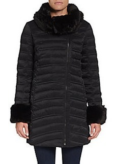 French Connection Faux-Fur-Trimmed Puffer Coat